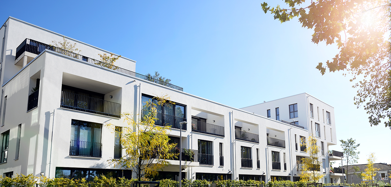 Modernes Apartmenthaus in Duesseldorf / Fotograf Guntmar Fritz
