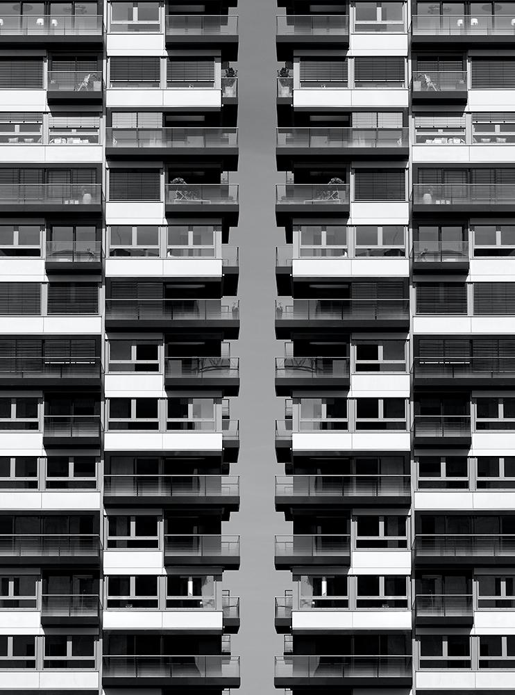 Black and white photography, Koelner Kranhaeuser abstrakt fotografiert, Composing